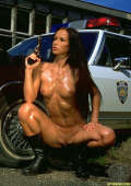 Oiled body and police car