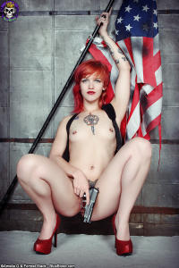 Hot girl Pandora stars and stripes, with revolver