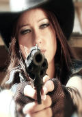 Texas cowgirl with revolver