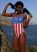 young American Indian girl in patriot bikini