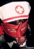 Japanese chick in kinky masked nurse costume