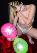 Lovely teenage girl play with her balloons