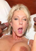 Facial fun with two blach dicks