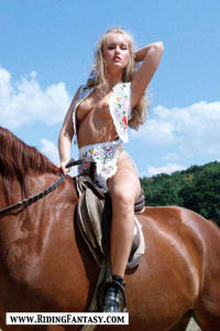 blond cowgirls riding topless 5
