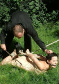 Classic asien lawn bondage for nasty wife.