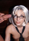 Glasses coverd with fucking cum