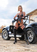 Jenny and black sportscar, free fotoset.