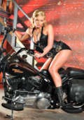 Leather model with bike