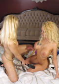 Salacious blonde lesbians Angelina and Caprice masturbating their wet cooters.