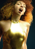 teen gets naughty in gold body suit