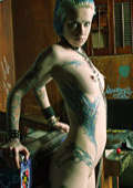 body art for young skinny chained gothic slavegirl