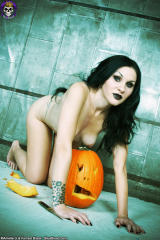 pale gothica girl naked on her knees