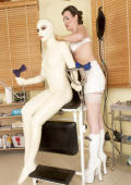 White LATEX dress for clinical sex in studio.