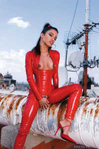Fetish girl ZULEIDY in red Latex posing