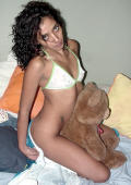 Latina in tiny white thong gets doggystyle on the bed