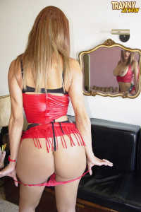 TS girl LORA in red dress stripping