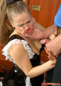 Young sexy French maid forced to suck off and open up for her aging master
