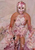 Sexy Maya gets messy with cherry pie and whipped cream.