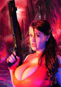 red light pictures of busty gun bride in action