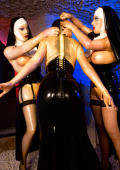 Bad sinful slavegirl gets hard treatment by two NUNS in latex.