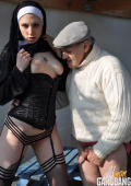Sinful nun gets assfucked outdoors by a kinky old man and his horny friend without even taking off her sexy uniform