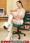 Nurs in white high boots.