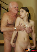 Teeny with ponytails is so curious to see this old man naked she ends up sucking his cock and getting fucked to orgasm.
