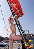 Amazing boat trip with topless teen
