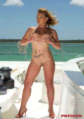 Yachtgirl Rose nude on deck