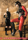Angel in latex and harnish trained as human pony.