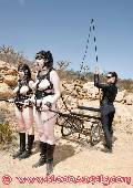outdoor training kinky latex and rubber ponygirls 4