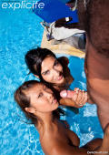 Lou Charmelle and Sharon assfucked and fisted around the pool