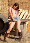 Teen in boots outdoors