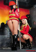 Dancing teens in fireman uniform