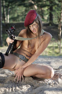 Soviet erotic army girl nude outdoor action