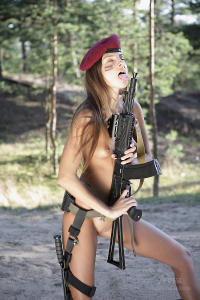 Soviet erotic army girl loves her big gun