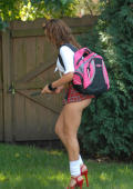 Candid pictures of Kendall in her schoolgirl uniform