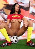 Beautiful sporty babe from Angola strips and shows her natural boobs.