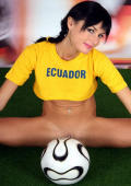 Pigtailed brunette football cutie from Ecuador strips and shows her assets.