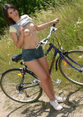 Flashing bikergirl