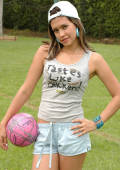 young Pamela plays a naughty game of soccer