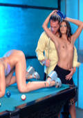 Star Cindy Crawford in a 3 way fuck fest on a pooltable