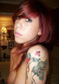 red headed inked babe self shot pics