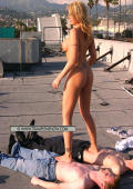 Outdoor action with trample girl