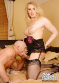 Exclusive Blonde Tranny stroking her hard cock and cumming on her old sucker.