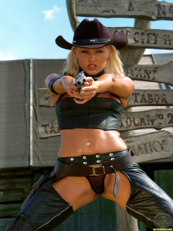 Cowgirl in outdoor action