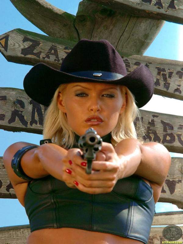 Cowgirl  aiming at you